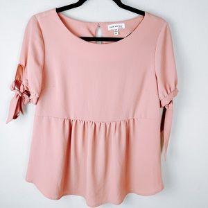 faith and joy pink peplum blouse top shirt medium